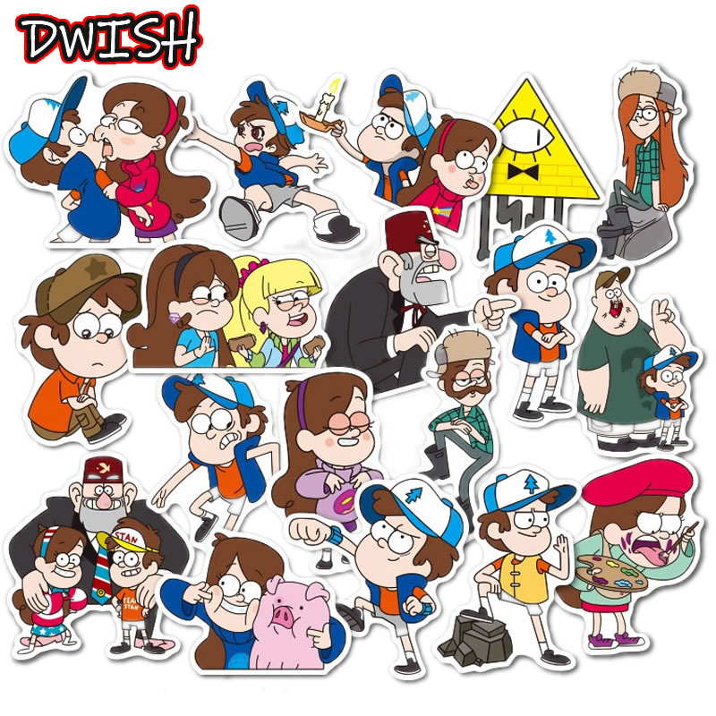 39Pcs/Lot Funny Anime Gravity Falls Waterproof Stickers Skateboard Guitar Suitcase Motorcycle Children Graffiti Sticker Kid Toy