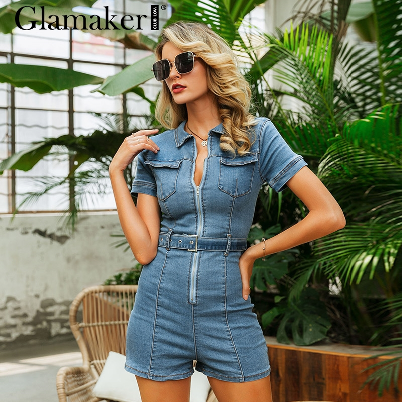 Glamaker Blue denim rompers women   jumpsuit   short sexy bodycon autumn streetwear jeans playsuit Female fashion party club overall