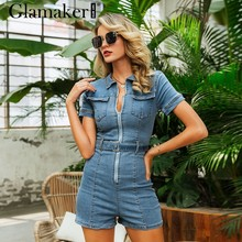 Glamaker Blauw denim rompertjes vrouwen jumpsuit korte sexy bodycon herfst streetwear jeans playsuit Vrouwelijke fashion party club algehele(China)