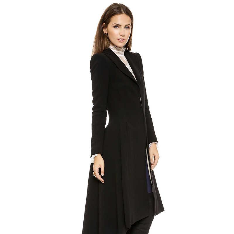 Biała podszewka długi płaszcz wełniany kobiety jaskółczy ogon klapa ubranie biurowe Plus rozmiar zimowe ciepłe obcisłe damskie eleganckie casualowe