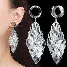 1 par de folhas pendientes túnel de aço inoxidável tampões de orelha parafuso-ajuste calibres de orelha orelha pircing expansores oreja 4-25mm jóias