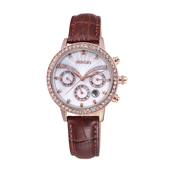 2020 New Brand Fashion Luxury Crystal Diamond Lady Sports Watch Leather Watchband Waterproof Multi functional Quartz Watch