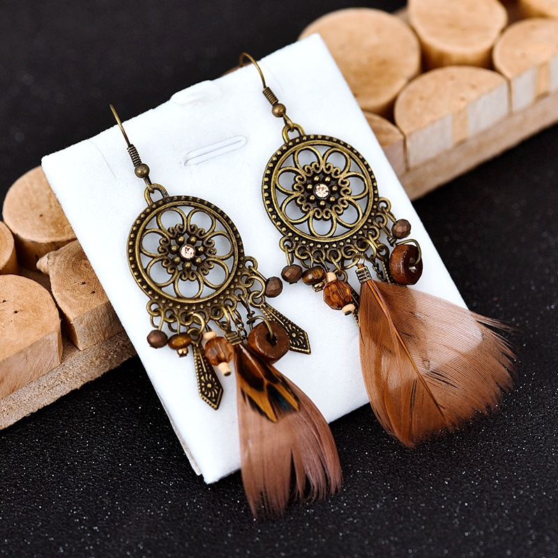 Vintage Bohemian Feather Earrings 2020 Hollow Flower Circle Dangle Drop Earrings For Women Boho Jewelry
