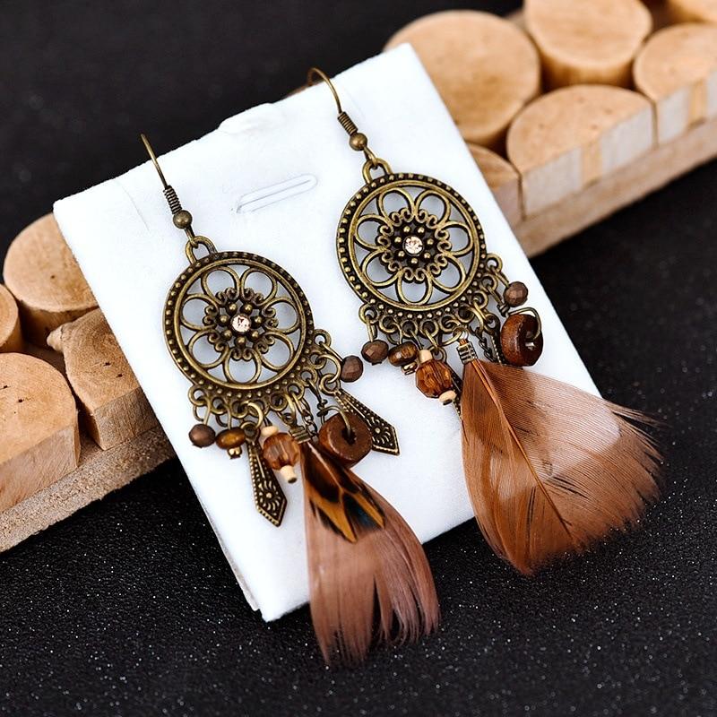 Vintage Bohemian Feather Earrings 2020 Hollow Flower Circle Dangle Drop Earrings For Women Boho Jewelry