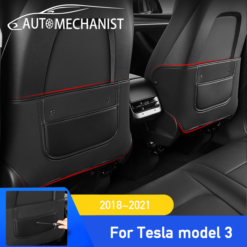 For Tesla Anti Kick Mat Pad Car Anti-kick Protector Mats For Tesla Seat Back Protector Model 3 2021 2020 2019 2018 Accessories