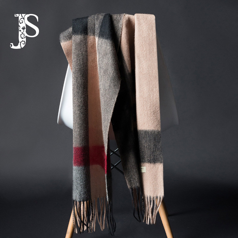 JS Pure 100% Wool Scarf For Men's And Lady's Winter Leisure Business Plaid Neckwear And Long Style Selection Gift Box With Plaid