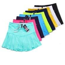 Novas meninas saias de tênis com shorts de segurança, secagem rápida mulher badminton saia, feminino tênis skorts, menina esporte correndo shorts