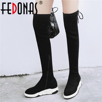FEDONAS Female Sport Riding Boots Party Prom Shoes Woman Winter Height Increasing Women Kid Suede Flock Over The Knee High Boots