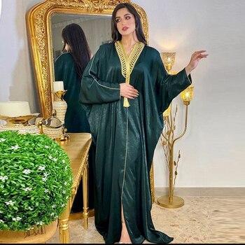 Dubai Abaya-vestido musulmán turco Hijab, ropa islámica africana para mujer, caftán, largo,...