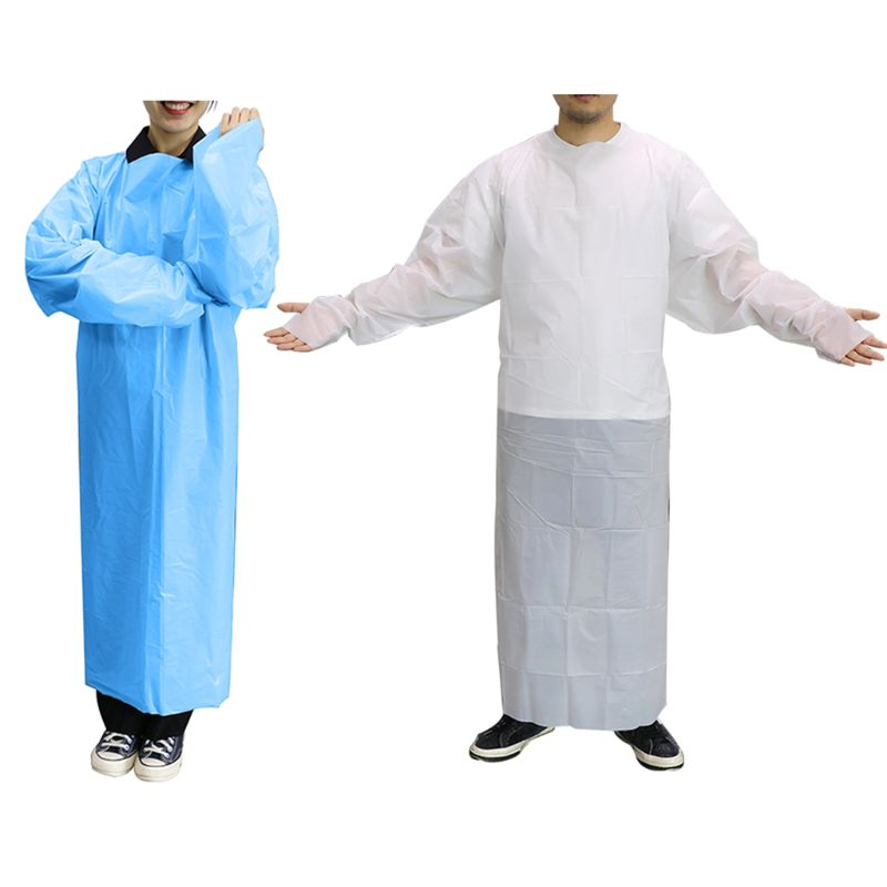 10 Pack Blue Disposable Isolation Gown Protective Isolation Gown Clothing FluidResistant Impervious Splash Resistant
