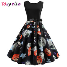 Halloween Costumes Women Dress Printed Sleeveless Party Dresses Woman 2019 Winter Elegant Bow Tie Ball Gown