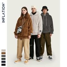 INFLATION DESIGN Oversized Hoodie In Khaki Wool Fleece Pullover Hoodie Black Color Latest Trends Men Hoodies Free Delivery 8778W