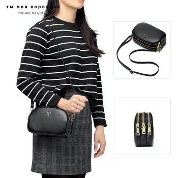 Fashion Genuine Leather Three-layer Zipper Small Shoulder Bag Luxury Women's Handbags Crossbody Bag Women Phone Messenger Bags women floral embroidery bag ladies black crossbody totes canvas three zipper travel beach phone coin bags shoulder messenger bag