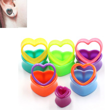 1pc Blue Heart Ear Tunnel Gauge Acrylic Spiral Plugs Taper Stretchers Expander Saddle 3-25mm