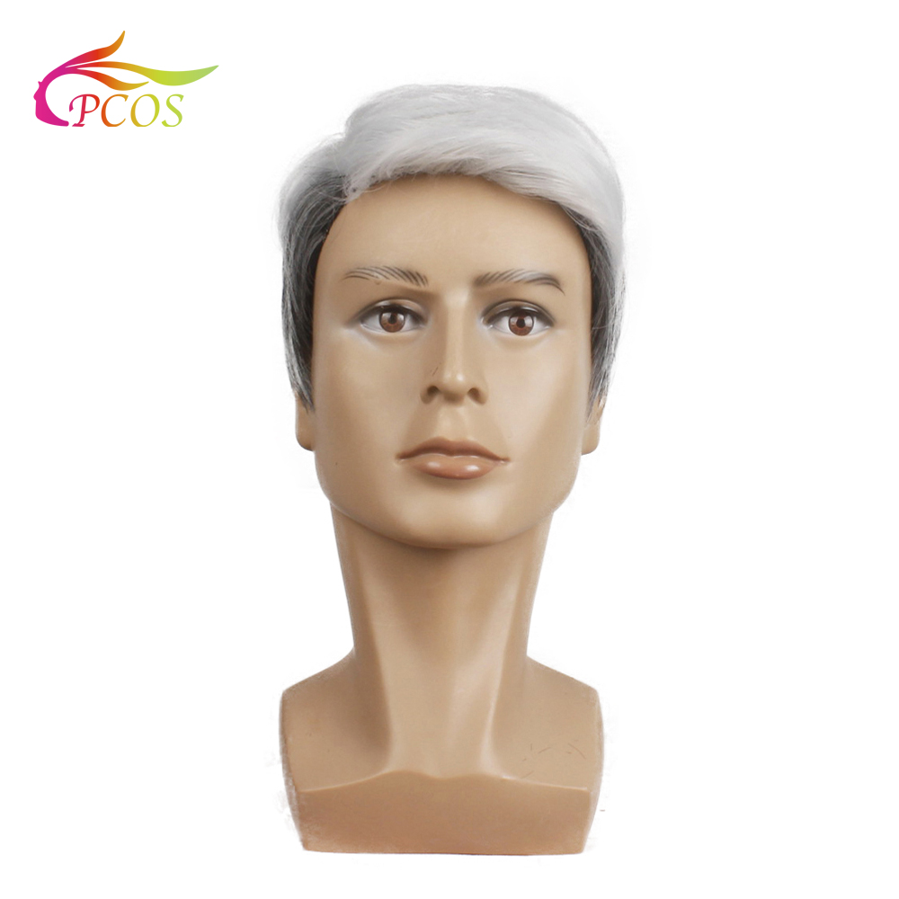 Short Wave Synthetic Wig For Men Male Hair Natural Fleeciness Grey White Hair Wigs For Father Wig