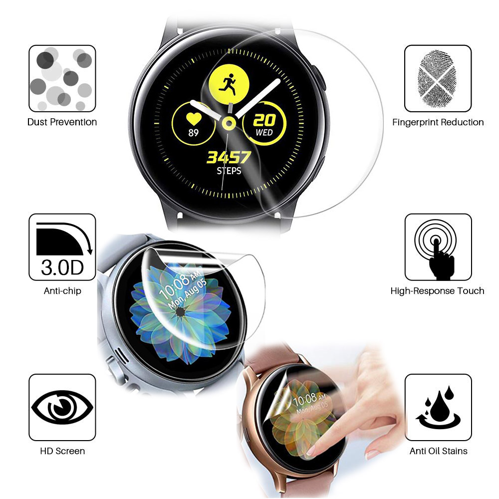 Protective HD Film For Samsung Galaxy Watch Active 1 2 44mm 40mm Watch Screen Protector Active2 Clear TPU Soft Ultra-thin Full
