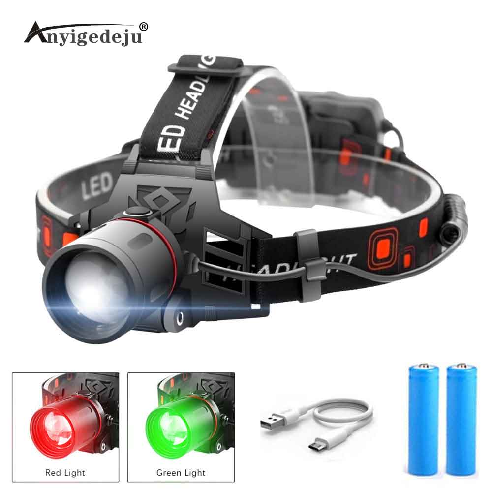 XML-T6 LED Headlamp 3-Mode Zoomable Headlight 18650 Battery Head Torch Green Fishing White Light Camping Red Hunting Flashlight