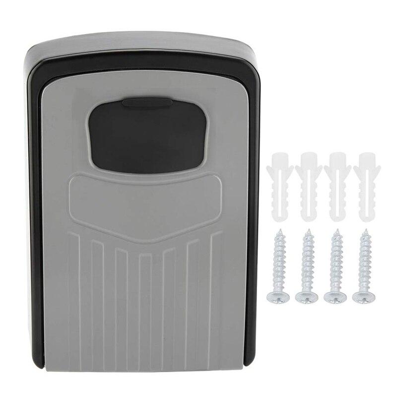AMS-Key Box 4-Digit Adjustable Combination Password Key Box Premium Security Lock Organizer Wall-Mounted Key Storage Lock Box Gr