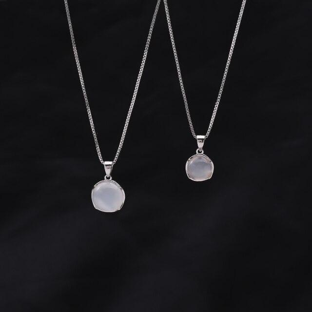 Collar con colgante de piedra lunar redonda para mujer gargantilla de cadena de clav cula en