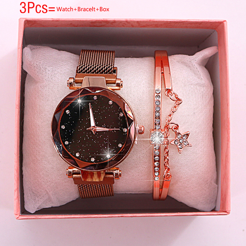 Women Watches 2019 New Bracelet Set Ladies Watch Magnetic Starry Sky Watch With Box Quartz Wristwatches Female Clock Reloj Mujer
