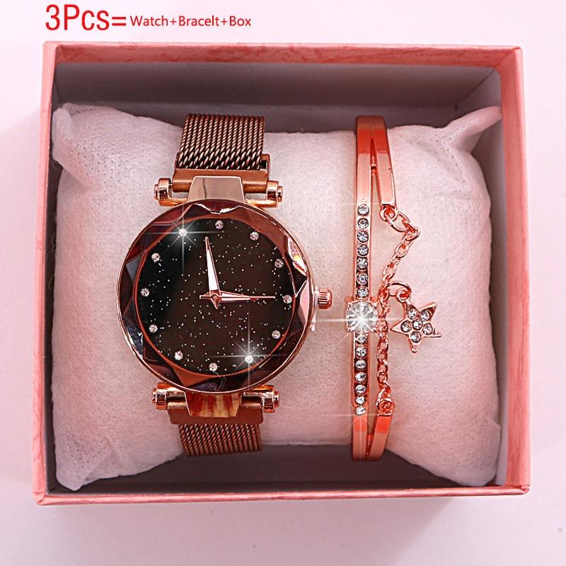 Women Watches 2019 New Bracelet Set Ladies Watch Magnetic Starry Sky Watch With Box Quartz Wristwatches Female Clock Reloj Mujer