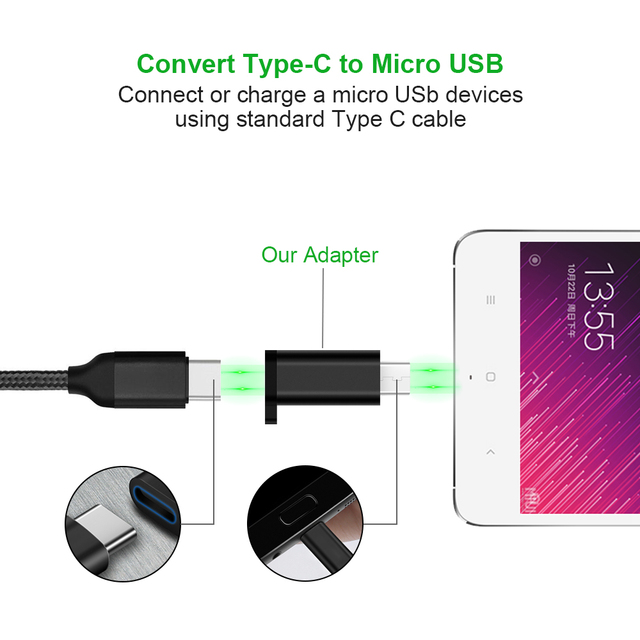 Type C Female to Micro USB Male Cable Adapter Converter for Xiaomi Redmi Huawei Meizu Samsung Galaxy S7 Microusb Android Phone 5
