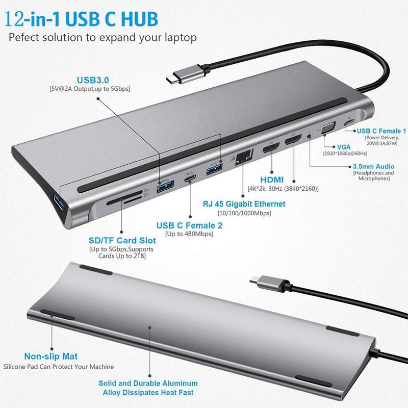 Station d'accueil pour ordinateur portable Lenovo HP Dell XPS MacBook, adaptateur d'affichage, Hub USB 3.0, double HDMI, VGA