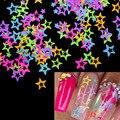 10 г/пакет для дизайна ногтей блестящая неоновая звезда 3D форма для ногтей блестки хлопья микс Сияющие блестящие акриловые гелевые украшени...