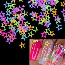 10 g/saco arte do prego glitter neon star 3d forma unhas lantejoulas flocos mix brilhando brilho acrílico gel unhas decoração