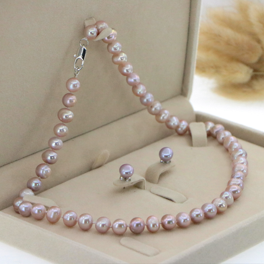 """Beautiful 8-9mm White Akoya Pearl Necklace Earring 17.5"""" Wedding Jewelry Sets for Women In Jewelry Sets Gift Wholesale 4"""
