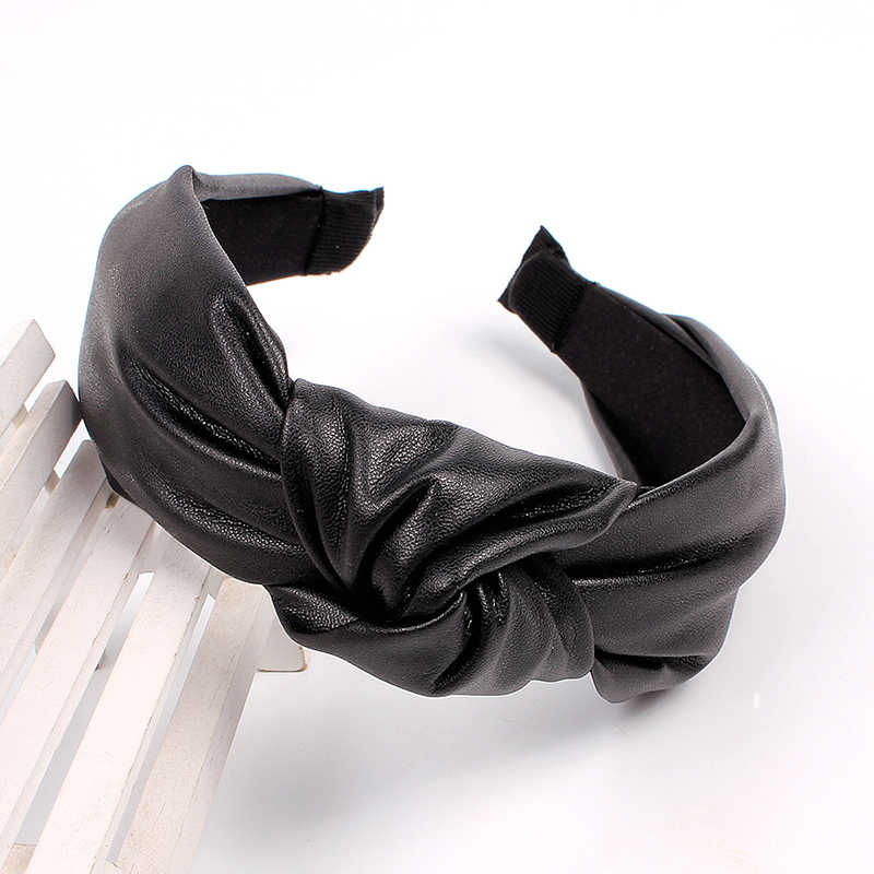 Роскошный простой топ из искусственной кожи, широкая повязка на голову, обруч для волос, винтажные кожаные однотонные аксессуары для волос, цветной женский тюрбан, головной убор