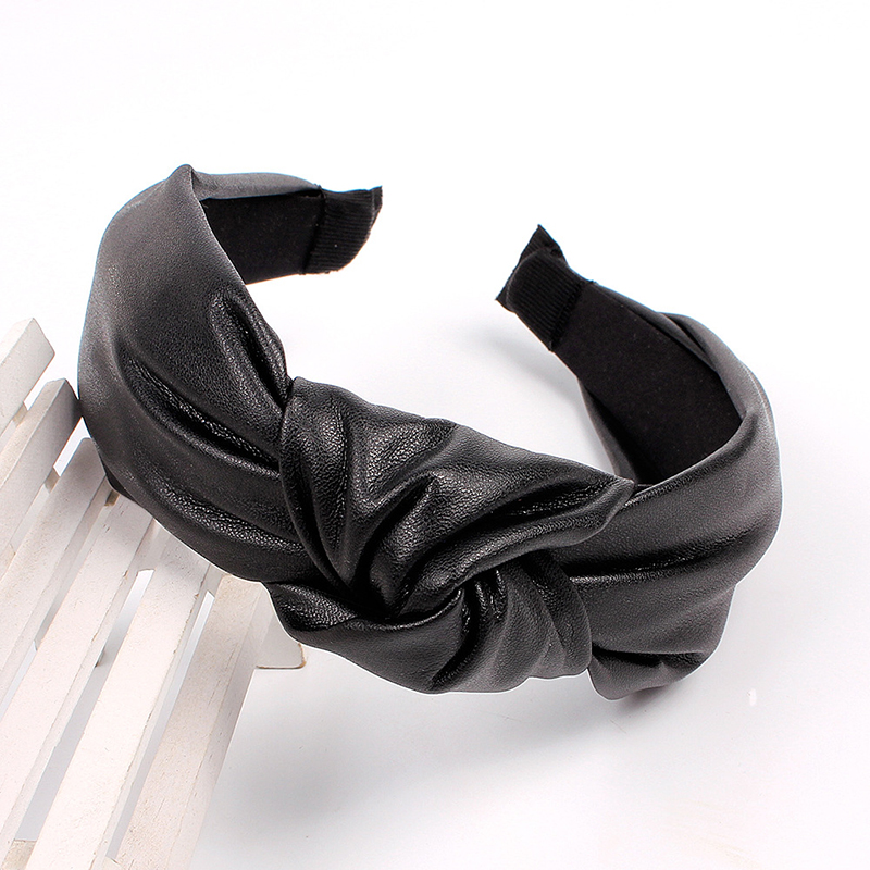 Luxury Simple PU Leather Top Knot Wide Headband Hair Hoop Vintage Leather Hair Accessories Solid Color Women Turban Headwear