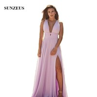 Deep V Neck Sexy Long Evening Dress Gowns Pink Chiffon A Line Simple Weddding Party Dress for Women Leg Slit Prom Gowns Backless