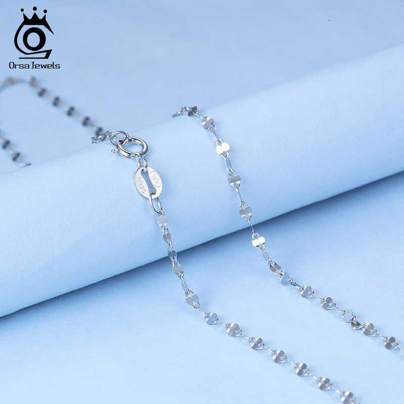 Orsa宝石純粋な 925 スターリングシルバーネックレス女性ヘビチェーン女性ネックレスシンプルなファッションジュエリーマッチアクセサリーSC26