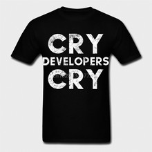 Men tshirt Funny Cry Developers Cry Distressed T shirt and Sticker for QA Engineers Classic T Shirt women T-Shirt tees top