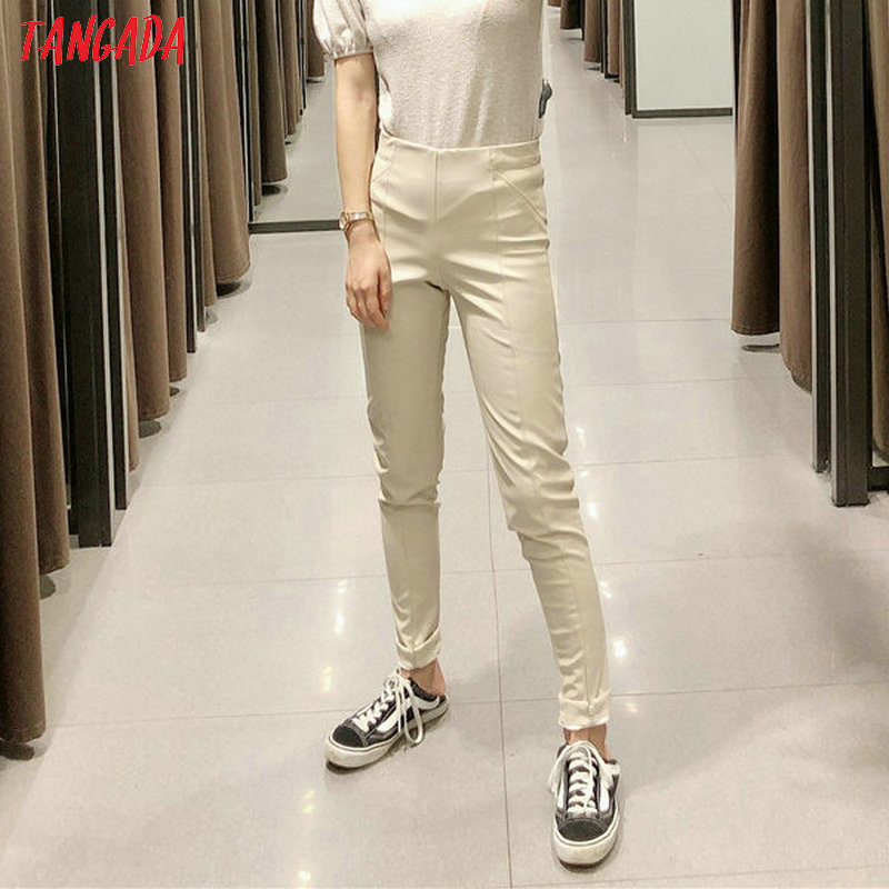 Tangada women white skinny PU leather pants stretch zipper female autumn winter pencil pants trousers 6A04 25