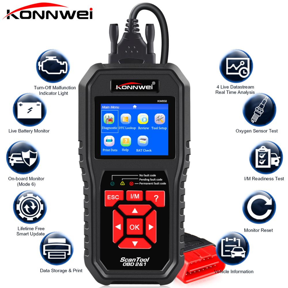 KONNWEI KW850 OBD2 Auto Diagnostic Scanner Universal OBD Car Diagnostic Tool ODB2 Check Engine Automotive Car Code Reader Black
