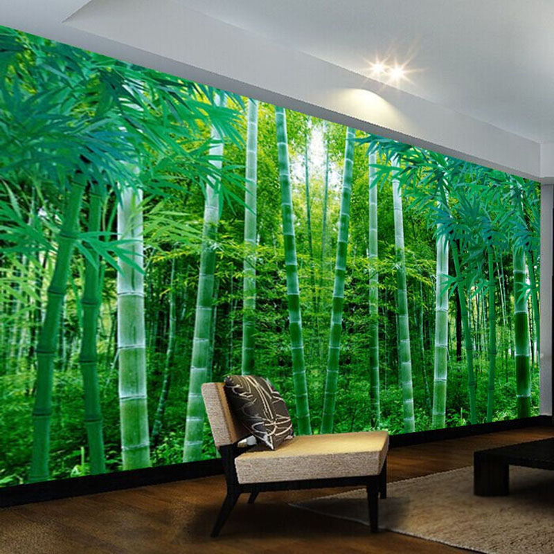 Custom Any Size Mural Wallpaper 3D Green Bamboo Forest Wall Painting Living Room TV Sofa Bedroom Study Landscape Wall Papers 3 D