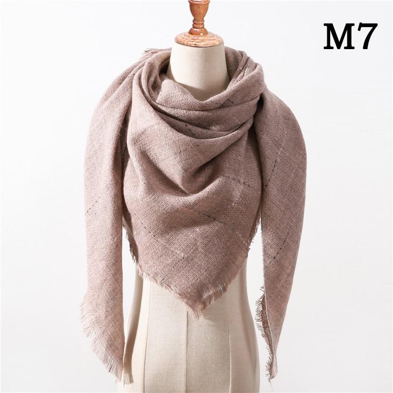 Женский зимний шарф в ретро стиле, кашемировые вязаные пашмины шали, женские мягкие треугольные шарфы, бандана, теплое одеяло, новинка - Цвет: M7