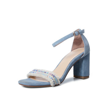 Summer New Euro Style Fashion Casual Women suede Leather Sandals Mixed Colors Open Toe Thick Heel Ankle Strap Shoes Woman