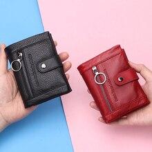 2020 nouveau doux en cuir véritable femmes portefeuille porte monnaie court de luxe dames petit Rfid carte portefeuilles pochette Portomonee Portfel