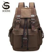 Men's Backpack Laptop Canvas School-Rucksack Drawstring Scione Teenagers Travel-Shoulder