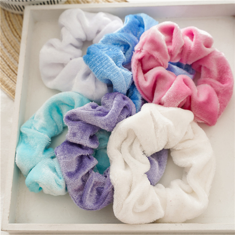 12Pcs/set Elastic Velvet Hair Scrunchies Rubber Bands Rope Ring Solid Soft Ponytail Hair Rope Ties Hair Accessories Scrunchy