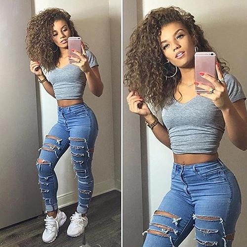 Women Fashion Hollow Elastic High Waist Skinny Sumemr Style Jeans Long Pants