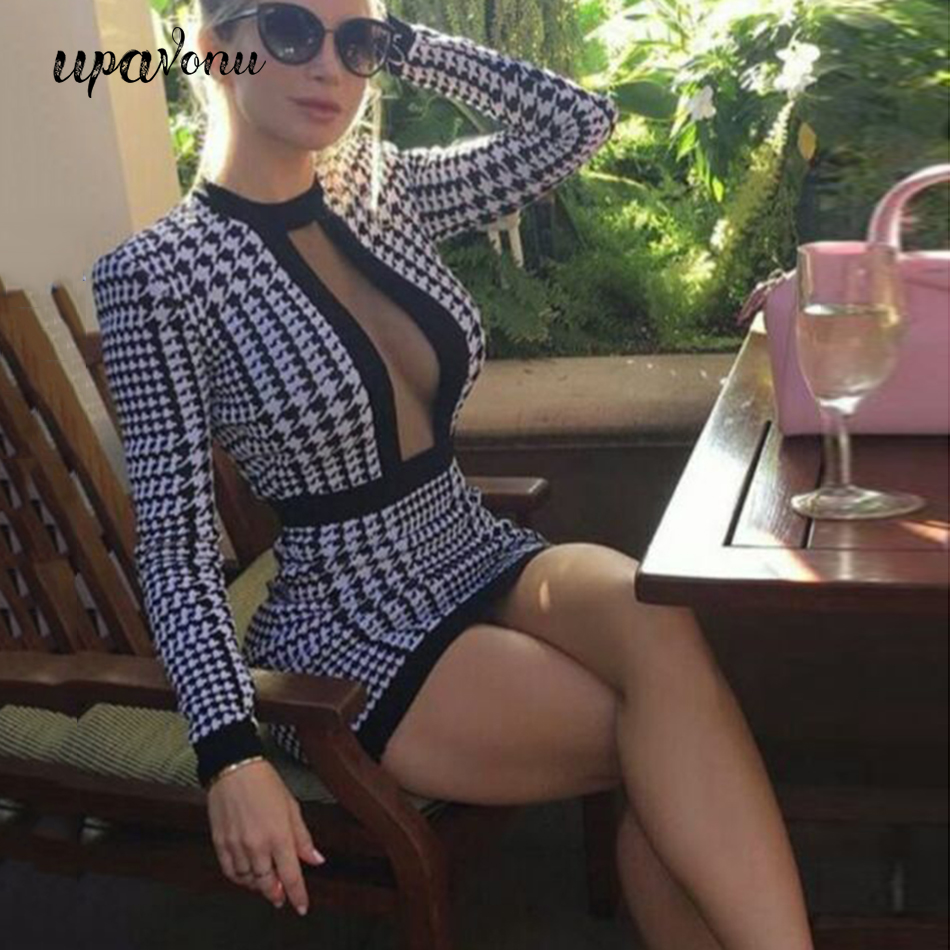 2020 New <font><b>Women</b></font> Houndstooth Bandage <font><b>Dress</b></font> <font><b>Sexy</b></font> Round Neck Mesh Gauze Hollow Long Sleeve <font><b>Bodycon</b></font> Mini <font><b>Dress</b></font> Club Party Vestidos image