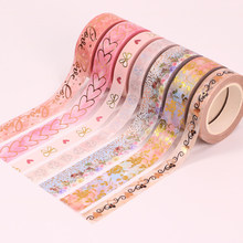 Gold Foil Heart Washi Tape Valentine's Day Masking Tape Scrapbooking Kawaii Love Flower Decorative Tape Stationary Supplies