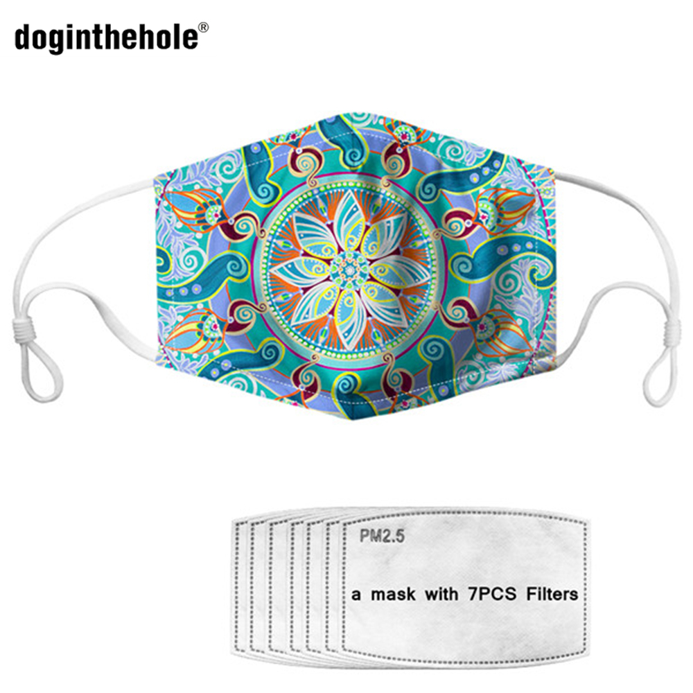 Doginthehole PM2.5 Mask Hamsa Hand Print Adult Mouth Cover Face Mask Anti Dust Mask Activated Carbon Filter Boho Mouth Mask