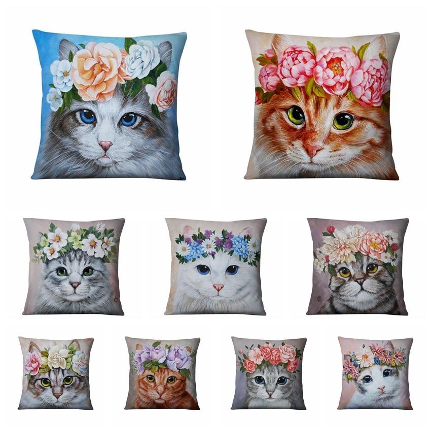 Cute Meow Cushion Decorative Pillow Cat With Flowers Thin Linen  Pillowcase Cushionshome Decor Sofa Throw Pillow Cats Cushions