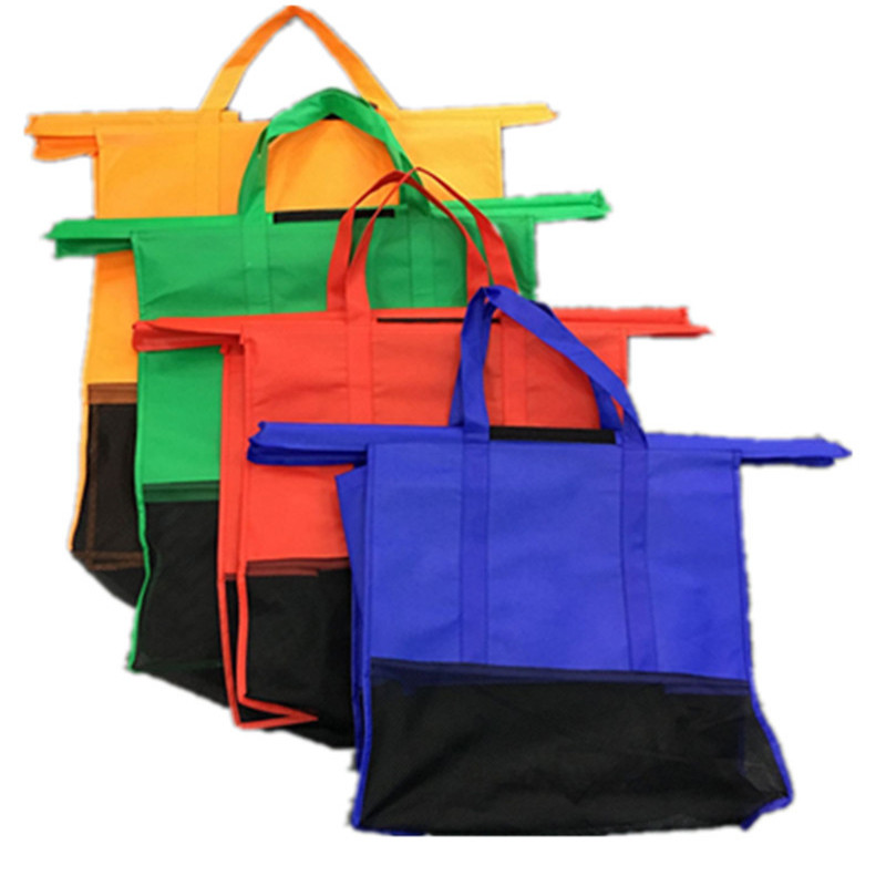 VOGVIGO 4pcs Cart Trolley Supermarket Shopping Bag Grocery Shopping Bags Foldable Tote Eco-friendly Reusable Supermarket Bags