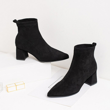 Ankle Boots For Women Elegant High Heels Ladies Slip On Autumn Winter 2019 New Fashion Black Brown